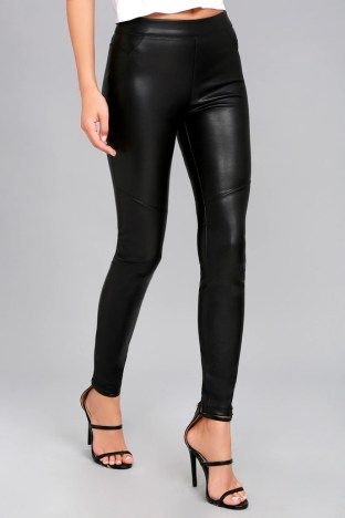 Free People Moto Black Vegan Leather Leggings 3