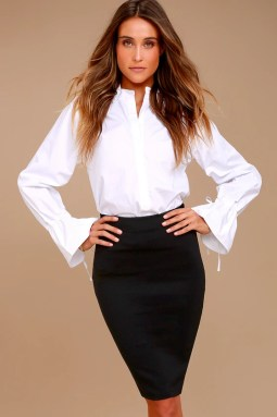 Pencil It In Black Bodycon Pencil Skirt 2