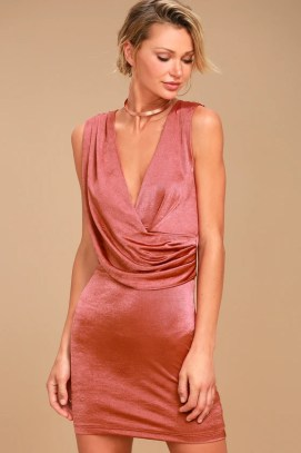 New Rules Rusty Rose Satin Sleeveless Bodycon Dress 1
