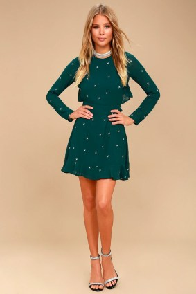 Counting Constellations Forest Green Embroidered Backless Dress 2