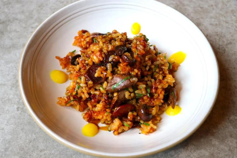 George Mendes x Chefs Club Counter - Duck Rice 1 (Aaron Arizpe)