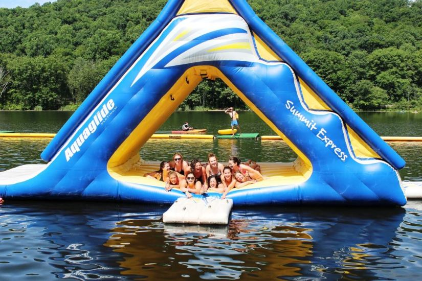Group Photo on Inflatable Lake Toy
