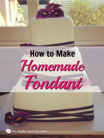 Easy Homemade Fondant Recipe: Are you a homebaker that wonders how the top bakers make the perfect covered cakes? Here's how to easily make great tasting homemade fondant! Use this recipe to make your own beautiful cakes, cupcake toppers, fondant figures and covering cookies. Easy to use recipe for beginning cake decorators. Pin for later!