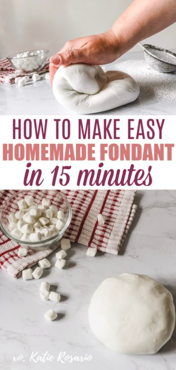 Creating homemade fondant is not only fast and easy, but it tastes so much better compared to the typical store-bought brand. You can color it and flavor it any way you want! The best part, you don't need any fancy special equipment to make your fondant at home. You can use the homemade fondant as you would regular fondant, to cover cakes, form figures, cut out pieces for cupcake toppers, and cover cookies. #xokatierosario #homemadefondant #fondantrecipe #cakedecoratingtips