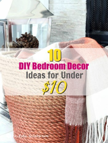 10 diy bedroom decor ideas that are under $10. I just moved and I needed to update my old bedroom decorations. So by searching Pinterest I saw these great ideas! I love decorating so this is very exciting for me! I don't have a lot of money to spend on new décor so I made my own DIY bedroom décor! Decorate for less with these dollar store DIY bedroom projects. These ideas can be made for under $10 or at the dollar store!
