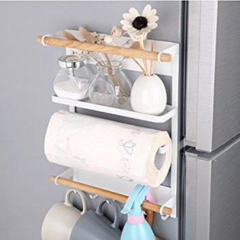 Magnetic wall holder for small kitchen storage. I love this post so much! It seriously helped me so much! I live in a tiny place so I need to use every space so wisely! This guide gave me so many ideas and a lot of ways to think differently that I never thought about before. These simple home hacks for storage is amazing!! Pinning for later!