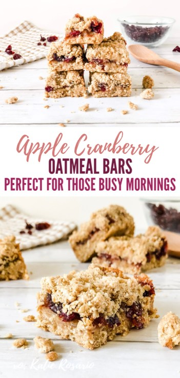 Looking for a delicious oatmeal bar recipe? These apple cranberry oatmeal bars are quick to make and insanely delicious. These apple cranberry oatmeal bars are made with a brown sugar oatmeal crumble crust that's filled with tart apples and cranberries. The filling is made with applesauce, dried cranberries, spices, and orange zest. The balance of sweet and tart, these oatmeal bars are so easy to fall in love with making them. #xokatierosario #applecranberrybars #oatmealbars #breakfastbars