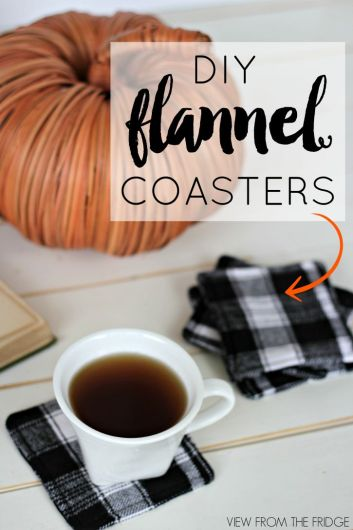 DIY flannel coasters. 14 fall diy fall decorations for your home