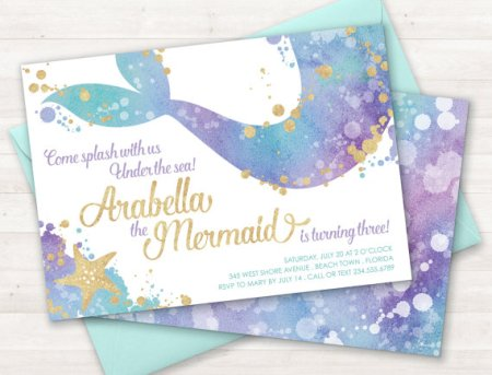 mermaid birthday party custom etsy invitations. Who doesn't love mermaids?! This is genius! So perfect for kids birthday parties! Under the sea and the little mermaid as a party is awesome! So many DIY ideas that are easy and cheap. Which is even better since we done want to break our budgets throwing a mermaid party. I like the food, dessert, decorating, activity ideas! Love it saving it for later!