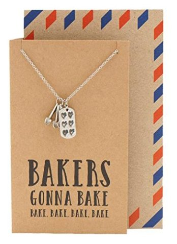 Bakers Gonna Bake Necklace. Holiday Gift Guide 2017. It can be so difficult to shop for a home baker and I don't know where to start. But this guide is perfect! These tools and gift ideas are amazing! I love the cute necklace to the stand mixer gifts! They all work for someone who loves to bake! Saving for later!