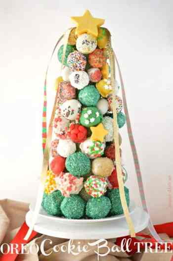 Oreo Cookie Ball Tree for 25 Days of Christmas Cookie Exchange: Christmas time is here! Yay! That means cookies!! I love baking and throwing parties! I love the idea of a cookie exchange. It really is genius! Hosting a cookie party for close family and friends sharing cookies and new recipes! I think this will be a new Holiday tradition for sure! Pinning for later!
