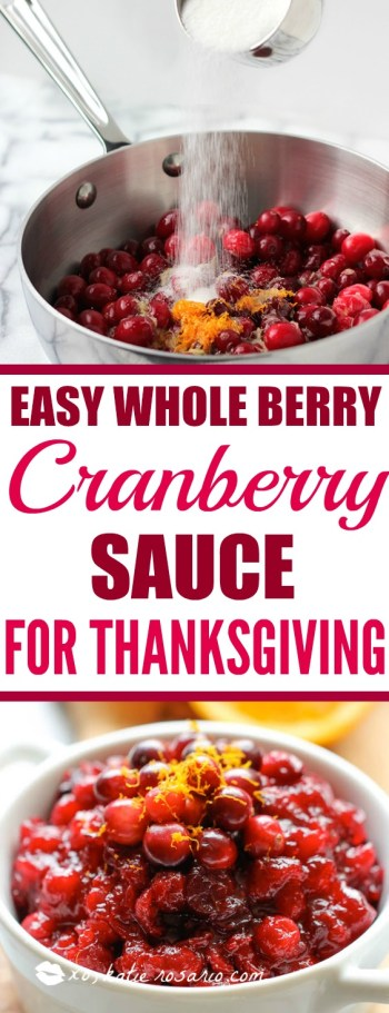 I never knew cranberry sauce is so easy to make! I love the whole berry sauce. This cranberry sauce is the perfect combination of tart & sweet! I will not miss the canned cranberry sauce this Thanksgiving thats for sure! Pinning for later!