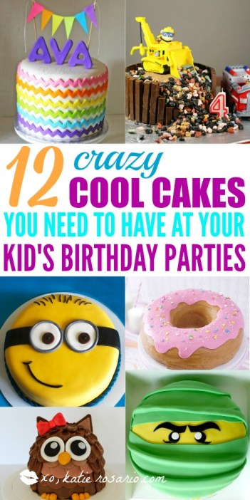 How to make cute kid birthday cakes! I love how easy it is to make cakes at home! It turns out it's easy to decorate a boxed-mix, store-bought, or homemade cake with these clever cake decorating tricks. These are crazy creative birthday cakes for kids. These cakes are perfect for both boys and girls birthday parties! #kidsbirthdaycakes #birthdaycakes #kidsbirthday