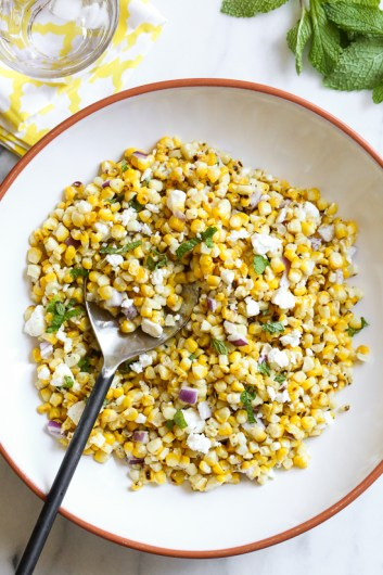 grilled corn salad with feta, easy grilling recipes