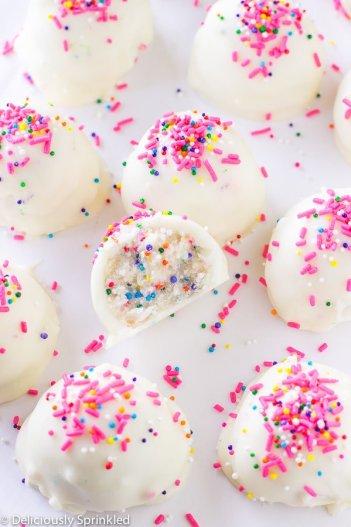 no bake cake batter truffles, no bake summer dessert recipes