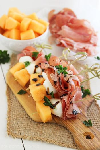 Melon Proscuitto Mozzarella Skewers Quick Appetizers for Easy Entertaining