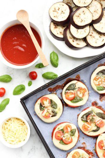 Mini Caprese Eggplant Pizzas | Low Carb Lunch Recipes