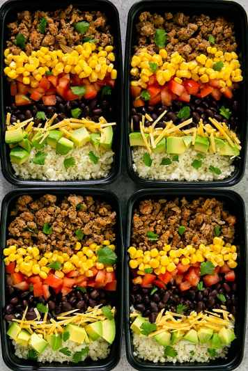 Turkey Taco Bowls with Cauliflower Rice | Low Carb Lunch Recipes Meal Prep