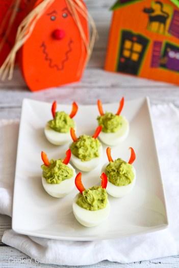 Devilish Sriracha Avocado Deviled Eggs | Halloween Party Appetizers