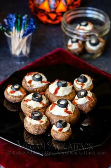 Stuffed Mushroom Eyeballs | Halloween Party Appetizers