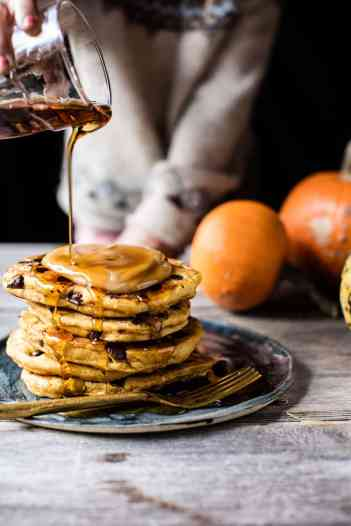 Chocolate Chip Pumpkin Pancakes with Whipped Maple Butter | Pumpkin Spice Pancakes