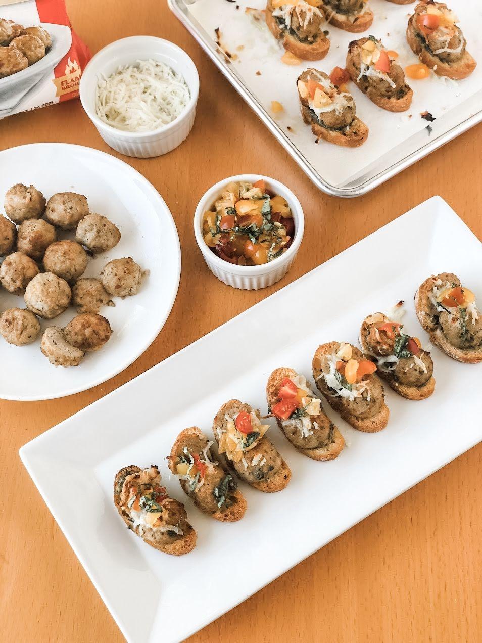 Basil Pesto Meatball Crostini Appetizer for Easy Entertaining by XO, Katie Rosario_2