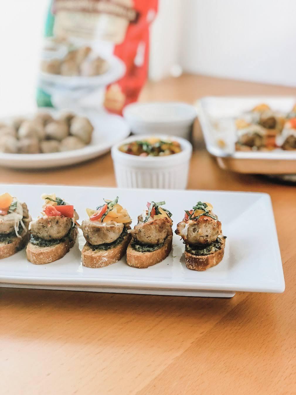 Basil Pesto Meatball Crostini Appetizer for Easy Entertaining by XO, Katie Rosario