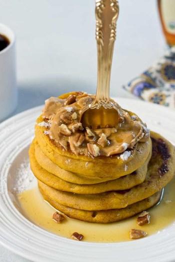 Peanut Butter Pumpkin Pancakes | Pumpkin Spice Pancakes