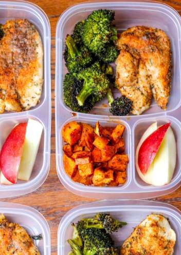 Spicy Chicken, Lemon Broccoli and Sweet Potatoes | Meal Prep Lunch Recipes