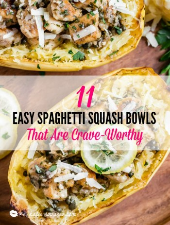 Low-carb never tasted so good! Spaghetti squash is also a great substitute when you are trying to go low-carb or gluten free. You can still make warm and comforting dishes you love with spaghetti squash. Try one of these 11 creative recipes that makes spaghetti squash the star of your dinner table. #xokatierosario #spaghettisquashrecipes #spghettirecipes #easyspaghettisquash