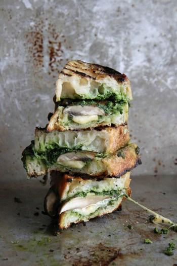 Portobello, Gouda & Kale Pesto Grilled Cheese | Gourmet Grilled Cheese Recipes