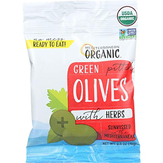 Mediterranean Organic Green Olives Pitted with Herbs Snack | Healthy Keto Approved Snacks You Can Find on Amazon