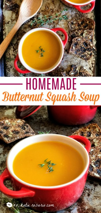 Homemade Butternut Squash Soup by @xokatierosario   Sweater weather is here and we are making soup! Butternut squash soup is just what you need on a chilly autumn day. This homemade butternut squash soup is so easy you'll impress yourself when your done. It's hard to believe that there isn't any cream or butter in this soup because it is so rich and creamy. The creaminess comes from the butternut squash, how cool is that?! Recipe by #xokatierosario #homemadesouprecipes #easybutternutsquashsoup #homemadebutternutsquashsoup