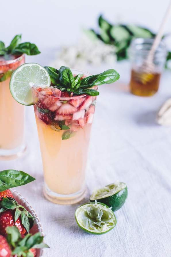 Honey Sweetened Limeade with Strawberries and Basil | Mocktails Non-Alcoholic Drinks