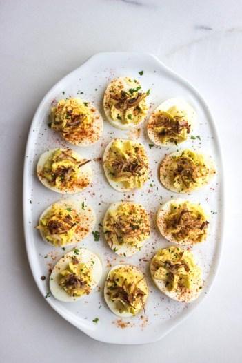 Crab Deviled Eggs with Crispy Shallots | Keto Small Bites & Snack Recipes
