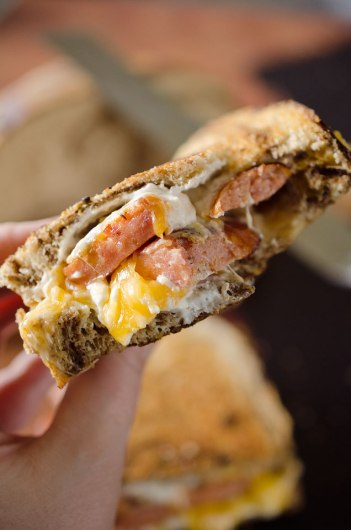 Smoked Sausage Triple Grilled Cheese | Gourmet Grilled Cheese Recipes