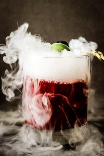 Smoking Blackberry Sage Margarita | Spooky Halloween Cocktails