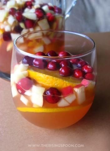 Cranberry Orange Apple White Sangria | Fall Sangria Cocktail