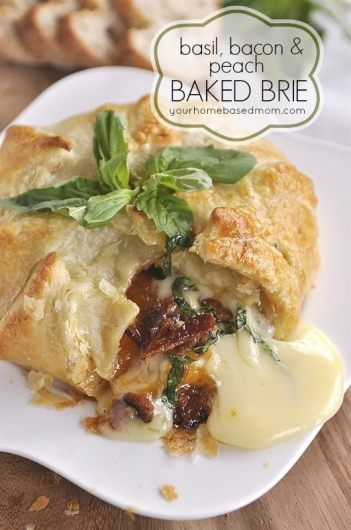 Basil, Bacon and Peach Brie | 15 Holiday Baked Brie Recipes For Easy Entertaining #bakedbrierecipes #holidayappetizers #easybakedbrie