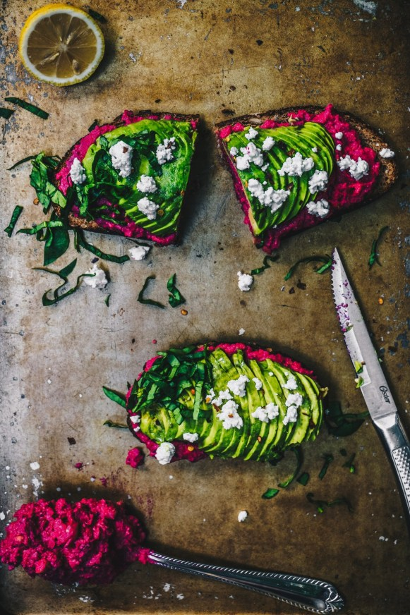 Avocado Beet Hummus Toast   13 Fancy Avocado Toasts That Are Totally Craveable