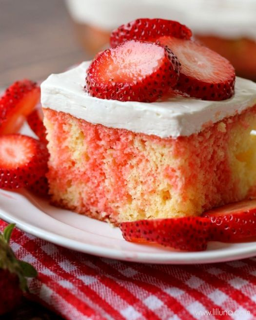 Strawberry Shortcake Poke Cake | Poke Cakes make a foolproof, easy dessert every time. These poke cake recipes are quick and easy cakes that you need to try. It's a brilliant way to make delicious desserts every time because most of these poke cake recipe starts with simple store-bought ingredients, you see all the time and probably have in your kitchen already! #xokatierosario #pokecakerecipes #easypokecakerecipes #quickcakerecipes