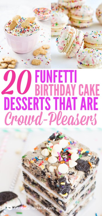 Do you wish that every day can be your birthday? Making funfetti birthday cake is like celebrating your birthday anytime you want. Funfetti birthday cake is a moist vanilla cake that is studded with rainbow sprinkles, so it looks like confetti. You can choose from cinnamon rolls, biscotti, whoopie pies, and even white hot chocolate! #xokatierosario #funfettibirthdaycake #birthdaycakedesserts #funfetticakedesserts