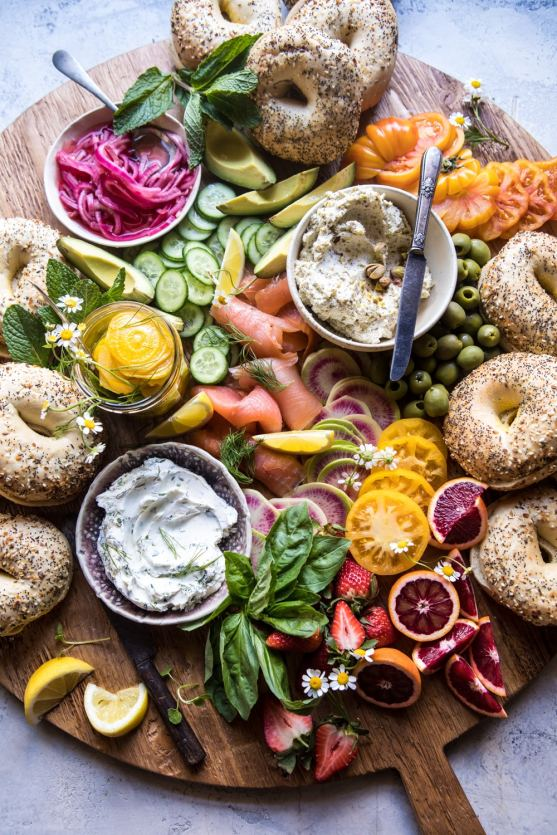 Bagel and Smoked Salmon Bar | These Easter brunch recipes are perfect for entertaining or enjoying a weekend brunch any time. You'll happily enjoy these creative brunch recipes on Easter morning. There's many sweet and savory brunch recipe to choose from the easiest french toast bake to a sourdough egg casserole and more. Here are 15 Easter Sunday brunch recipes to feed a crowd! #xokatierosario #easterbrunchrecipes #easterbrunch #easybrunchrecipes
