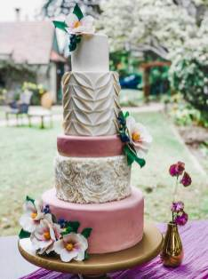 Enchanted Forest Wedding Cake with Sugar Flowers