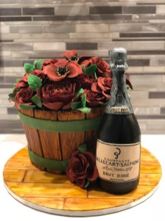 Champagne and Rose Garden Cake