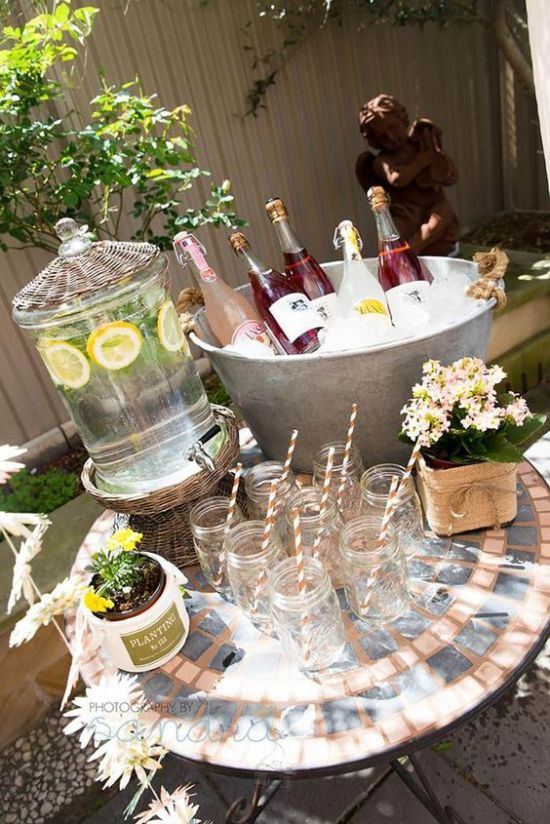 DIY Beverage Station | The perfect way to welcome the spring is to host a Garden Party. If DIY is your middle name, then you will love these garden party ideas. These garden party ideas are simple and easy to make but will have a significant impact on your garden party. There's no better way to celebrate spring than with a fun and festive DIY garden party. #xokatierosario #DIYgardenpartyideas #easygardenpartyideas #vintagegardenparty