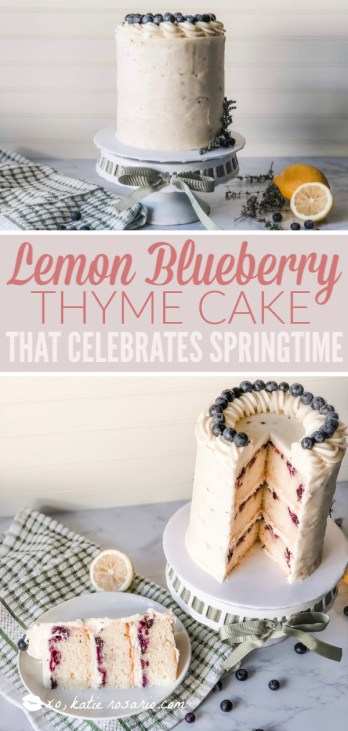 Lemon blueberry thyme is a deliciously fresh and flavorful cake that celebrates all things Spring. This cake is made with a zesty lemon cake that is studded fresh blueberries, and it's layered with a creamy lemon thyme buttercream. This cake is unique with its approach and technique, but it's easy for any beginner baker to make and feel like a professional. #xokatierosario #lemonblueberrythyme #lemonblueberrycake #springcakerecipes