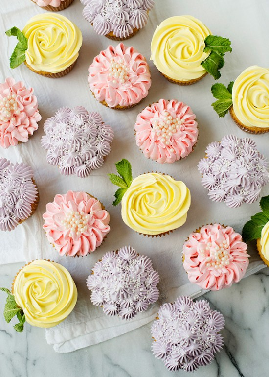 Flower Buttercream Cupcakes | The perfect way to welcome the spring is to host a Garden Party. If DIY is your middle name, then you will love these garden party ideas. These garden party ideas are simple and easy to make but will have a significant impact on your garden party. There's no better way to celebrate spring than with a fun and festive DIY garden party. #xokatierosario #DIYgardenpartyideas #easygardenpartyideas #vintagegardenparty