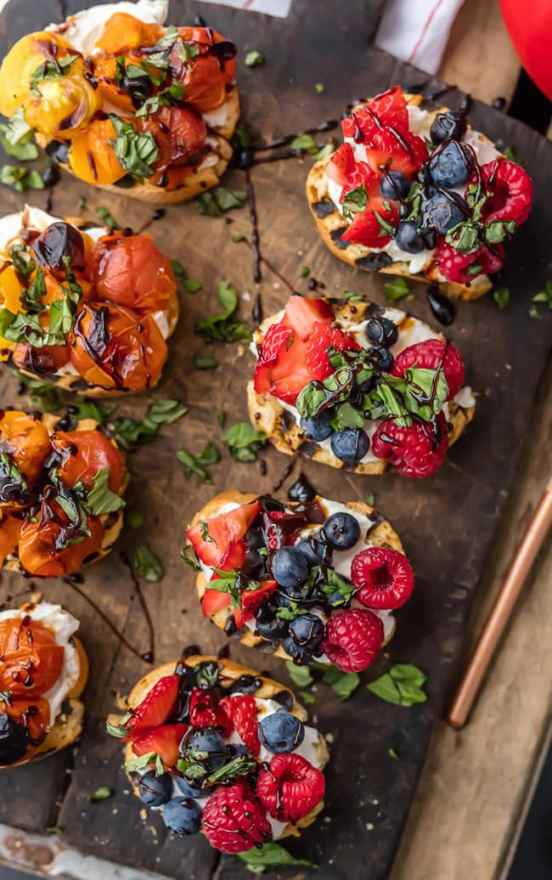 Whipped Goat Cheese Bruschetta | These Easter brunch recipes are perfect for entertaining or enjoying a weekend brunch any time. You'll happily enjoy these creative brunch recipes on Easter morning. There's many sweet and savory brunch recipe to choose from the easiest french toast bake to a sourdough egg casserole and more. Here are 15 Easter Sunday brunch recipes to feed a crowd! #xokatierosario #easterbrunchrecipes #easterbrunch #easybrunchrecipes