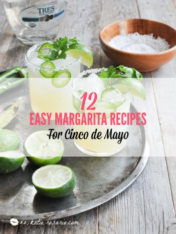 What I love most about these margarita recipes is how easily you can make these drinks ahead of time and in large batches. It's really cool how you can take simple ingredients like tequila, fruit juice, and salt and make a ton of delicious flavors. You can choose from bold and flavorful margaritas like coconut grapefruit, blackberry thyme, strawberry basil, and fresh lime & jalapeno. #xokatierosario #cincodemayo #margaritarecipes #easymargaritas